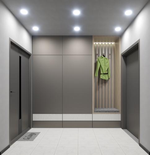 Architektura wnętrz - minimalistyczny przedpokój w budynku wielorodzinnym - Słupsk